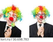 Купить «Clown with lollipop isolated on white», фото № 30698783, снято 21 марта 2014 г. (c) Elnur / Фотобанк Лори