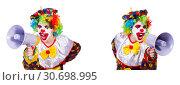 Купить «Funny male clown with megaphone», фото № 30698995, снято 25 мая 2019 г. (c) Elnur / Фотобанк Лори