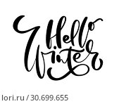 Купить «hello winter - hand drawn lettering inscription text to winter holiday design, celebration greeting card, calligraphy vector illustration», иллюстрация № 30699655 (c) Happy Letters / Фотобанк Лори