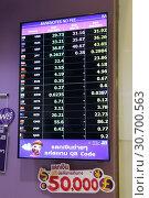 Купить «Electronic scoreboard with world currency rates in the interior of Bangkok airport», фото № 30700563, снято 27 марта 2019 г. (c) Григорий Писоцкий / Фотобанк Лори