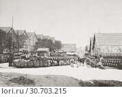 The wine warehousing area along the River Seine, Bercy, Paris, France, seen here during the 19th century. Warehouses for the blending of light wines, with... (2019 год). Редакционное фото, фотограф Classic Vision / age Fotostock / Фотобанк Лори