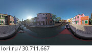 360 VR Burano island scene with traditional houses, canal and bell tower. Italy. Стоковое фото, фотограф Данил Руденко / Фотобанк Лори