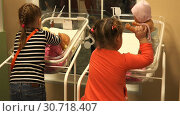 Купить «Little girls learn to swaddle dolls in a cradle for newborns», видеоролик № 30718407, снято 14 ноября 2016 г. (c) Aleksandr Sulimov / Фотобанк Лори
