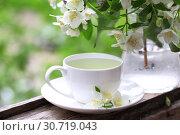 Купить «Зеленый чай со вкусом жасмина», фото № 30719043, снято 7 июля 2020 г. (c) Марина Володько / Фотобанк Лори