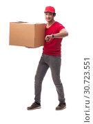 Купить «Young male courier with box», фото № 30723551, снято 9 ноября 2018 г. (c) Elnur / Фотобанк Лори