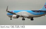 Купить «TUIFly Boeing 737 landing», видеоролик № 30725143, снято 20 июля 2017 г. (c) Игорь Жоров / Фотобанк Лори
