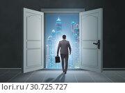 Купить «Businessman entering big large door», фото № 30725727, снято 4 апреля 2020 г. (c) Elnur / Фотобанк Лори