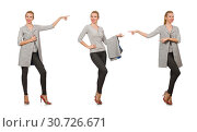Купить «Pretty woman in gray blouse isolated on white», фото № 30726671, снято 17 сентября 2014 г. (c) Elnur / Фотобанк Лори