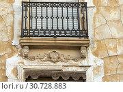 Купить «Facade details. Almansa. Albacete. Castile-La Mancha. Spain.», фото № 30728883, снято 5 декабря 2018 г. (c) age Fotostock / Фотобанк Лори