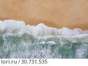 Купить «Atlantic ocean sandy beach with turquoise ocean and waves. Aerial view», фото № 30731535, снято 23 апреля 2019 г. (c) Кирилл Трифонов / Фотобанк Лори