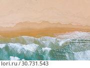 Купить «Atlantic ocean sandy beach with turquoise ocean and waves. Aerial view», фото № 30731543, снято 30 апреля 2019 г. (c) Кирилл Трифонов / Фотобанк Лори