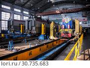 Купить «Russia, Khabarovsk, October 22, 2013: Locomotive depot of Khabarovsk, repair shop, locomotives repair», фото № 30735683, снято 22 октября 2013 г. (c) Катерина Белякина / Фотобанк Лори