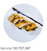 Купить «Turkey breast with prunes on plate», фото № 30737347, снято 16 октября 2019 г. (c) Яков Филимонов / Фотобанк Лори