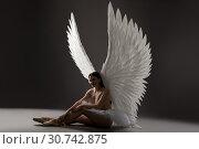Купить «Ballet dancer topless with gorgeous wings shot», фото № 30742875, снято 29 апреля 2019 г. (c) Гурьянов Андрей / Фотобанк Лори