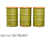 Green metal barrel isolated on white background with clipping path. Стоковое фото, фотограф Zoonar.com/amnuai butala / easy Fotostock / Фотобанк Лори