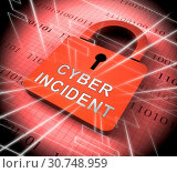 Купить «Cyber Incident Data Attack Alert 3d Rendering Shows Hacked Networks Or Computer Security Penetration», фото № 30748959, снято 3 июля 2016 г. (c) easy Fotostock / Фотобанк Лори