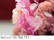Купить «Close up of pink bouquet made of hydrangea», фото № 30760751, снято 20 мая 2019 г. (c) Pavel Biryukov / Фотобанк Лори