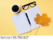 Купить «Empty otebook, eyeglasses on yellow background.», фото № 30760827, снято 22 мая 2019 г. (c) Pavel Biryukov / Фотобанк Лори