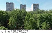 Купить «Top view of the park Severnoye Tushino in Moscow, Russia.», видеоролик № 30770267, снято 16 июня 2019 г. (c) Володина Ольга / Фотобанк Лори