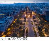 Купить «Panoramic view of Barcelona with Triumphal Arch», фото № 30770655, снято 1 апреля 2019 г. (c) Яков Филимонов / Фотобанк Лори