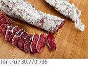 Купить «Fuet, traditional spanish sausage», фото № 30770735, снято 22 мая 2019 г. (c) Яков Филимонов / Фотобанк Лори