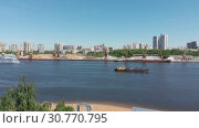 Купить «Traffic along cargo port on Moscow Canal in Moscow, Russia.», видеоролик № 30770795, снято 18 ноября 2019 г. (c) Володина Ольга / Фотобанк Лори