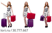 Купить «Beautiful woman in polka dot dress with suitcases isolated on wh», фото № 30777667, снято 25 февраля 2020 г. (c) Elnur / Фотобанк Лори