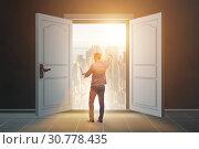 Купить «Businessman entering big large door», фото № 30778435, снято 4 апреля 2020 г. (c) Elnur / Фотобанк Лори