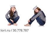 Купить «Young woman sailor isolated on white», фото № 30778787, снято 29 ноября 2012 г. (c) Elnur / Фотобанк Лори