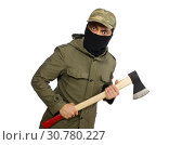 Купить «Criminal wearing mask isolated on white», фото № 30780227, снято 19 декабря 2014 г. (c) Elnur / Фотобанк Лори