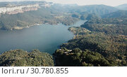 Купить «Scenic panoramic view from high point of Sau reservoir, Catalonia, at autumn day», видеоролик № 30780855, снято 17 ноября 2018 г. (c) Яков Филимонов / Фотобанк Лори