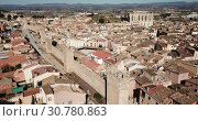 Купить «Aerial view of historical center of ancient city Montblanc, Spain», видеоролик № 30780863, снято 14 февраля 2019 г. (c) Яков Филимонов / Фотобанк Лори