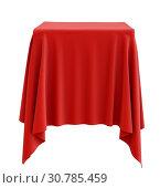 Купить «Red cloth on a square pedestal, isolated on white. 3d illustration», фото № 30785459, снято 8 февраля 2019 г. (c) easy Fotostock / Фотобанк Лори