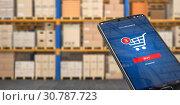 Купить «Smartphone on the watrehouse. Warehousing, storage, logistic and online shopping concept.», фото № 30787723, снято 18 июня 2019 г. (c) Maksym Yemelyanov / Фотобанк Лори