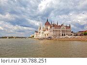 Купить «Вид на Парламент с Дуная. Будапешт. Венгрия», фото № 30788251, снято 30 апреля 2019 г. (c) Сергей Афанасьев / Фотобанк Лори