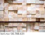 Купить «Деревянные бруски сложенные стопкой», фото № 30788631, снято 7 октября 2018 г. (c) Вячеслав Палес / Фотобанк Лори