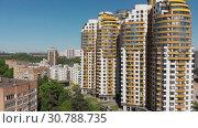 Купить «Khimki, Russia - May 18.2019. View of the beautiful urban architecture», видеоролик № 30788735, снято 13 ноября 2019 г. (c) Володина Ольга / Фотобанк Лори