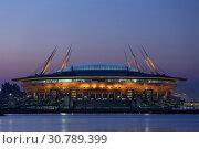 """Купить «Стадион """"Газпром Арена"""". Санкт-Петербург.», фото № 30789399, снято 12 мая 2019 г. (c) Роман Рожков / Фотобанк Лори"""
