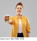 Купить «happy redhead teenage girl with paper coffee cup», фото № 30790179, снято 28 февраля 2019 г. (c) Syda Productions / Фотобанк Лори
