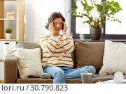 Купить «sad sick woman in scarf at home», фото № 30790823, снято 6 марта 2019 г. (c) Syda Productions / Фотобанк Лори