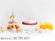 Купить «food and drinks on table at birthday party», фото № 30791011, снято 6 июля 2018 г. (c) Syda Productions / Фотобанк Лори