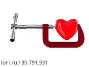 clamp with heart on white background. Isolated 3D illustration. Стоковая иллюстрация, иллюстратор Ильин Сергей / Фотобанк Лори