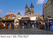 Купить «Easter Market, old town square, Prague, Czech Republic.», фото № 30793927, снято 6 апреля 2019 г. (c) age Fotostock / Фотобанк Лори