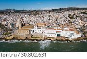 Aerial view of mediterranean resort town Sitges, Spain (2018 год). Стоковое фото, фотограф Яков Филимонов / Фотобанк Лори