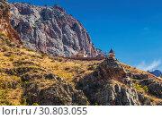 Купить «The medieval monastery of Noravank in the mountains of Armenia. It was founded in 1205.», фото № 30803055, снято 23 сентября 2018 г. (c) Наталья Волкова / Фотобанк Лори
