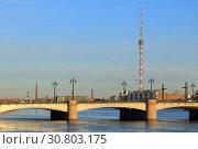 Купить «Вид на Ушаковский мост и телебашню. Санкт-Петербург.», фото № 30803175, снято 6 апреля 2019 г. (c) Роман Рожков / Фотобанк Лори