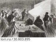 Купить «A demonstration of photography with the aid of a magnesium light to illuminate the subject, 1865. From The Illustrated London News, published 1865.», фото № 30803895, снято 21 марта 2019 г. (c) age Fotostock / Фотобанк Лори