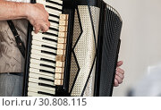 Купить «Accordionist plays accordion, close up», фото № 30808115, снято 18 мая 2019 г. (c) EugeneSergeev / Фотобанк Лори