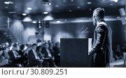 Купить «Public speaker giving talk at business event.», фото № 30809251, снято 13 апреля 2018 г. (c) Matej Kastelic / Фотобанк Лори