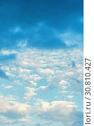 Купить «Sky background with colorful cumulus clouds», фото № 30810427, снято 3 июня 2015 г. (c) Зезелина Марина / Фотобанк Лори